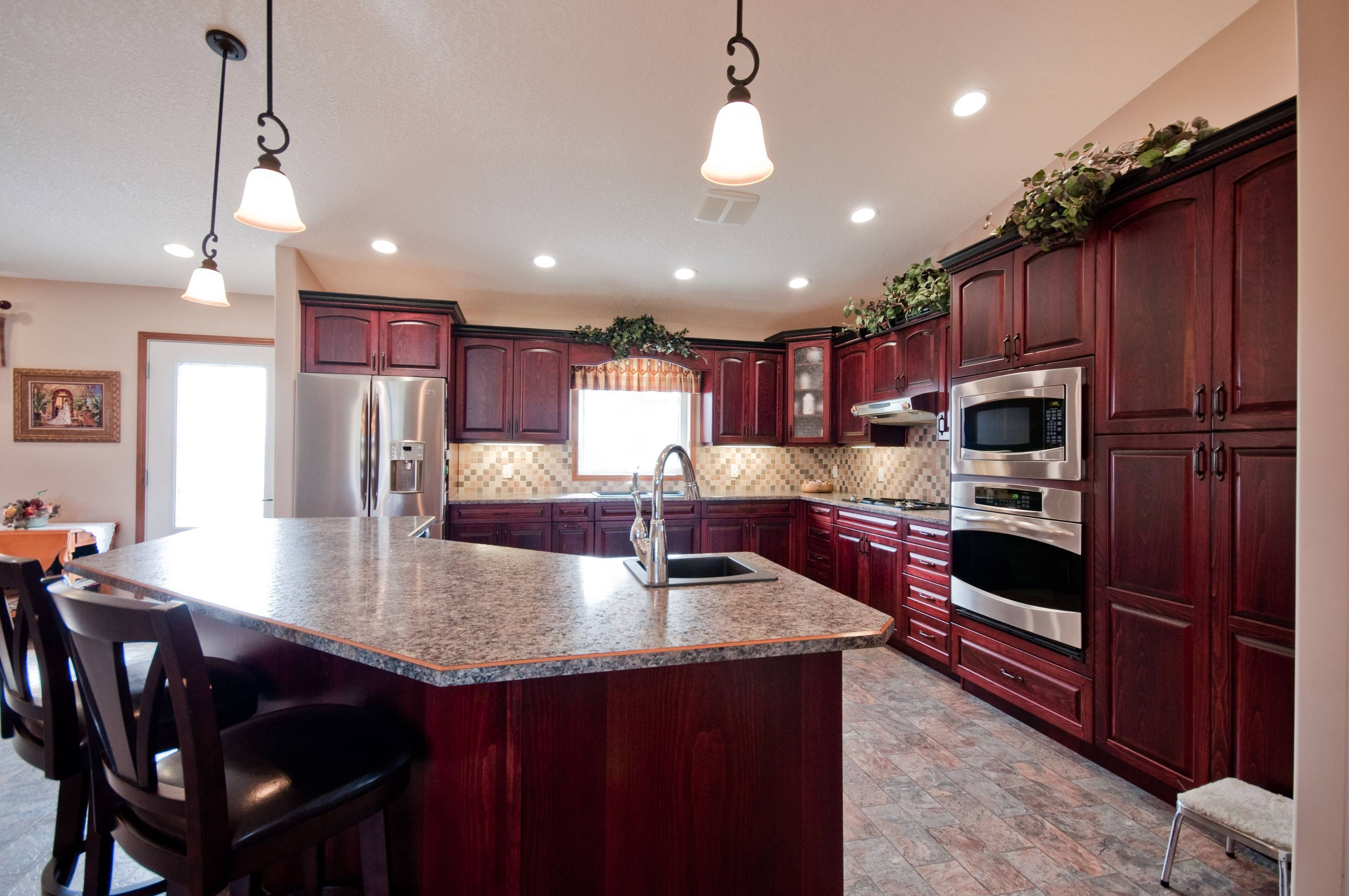 Stained Red Kitchen