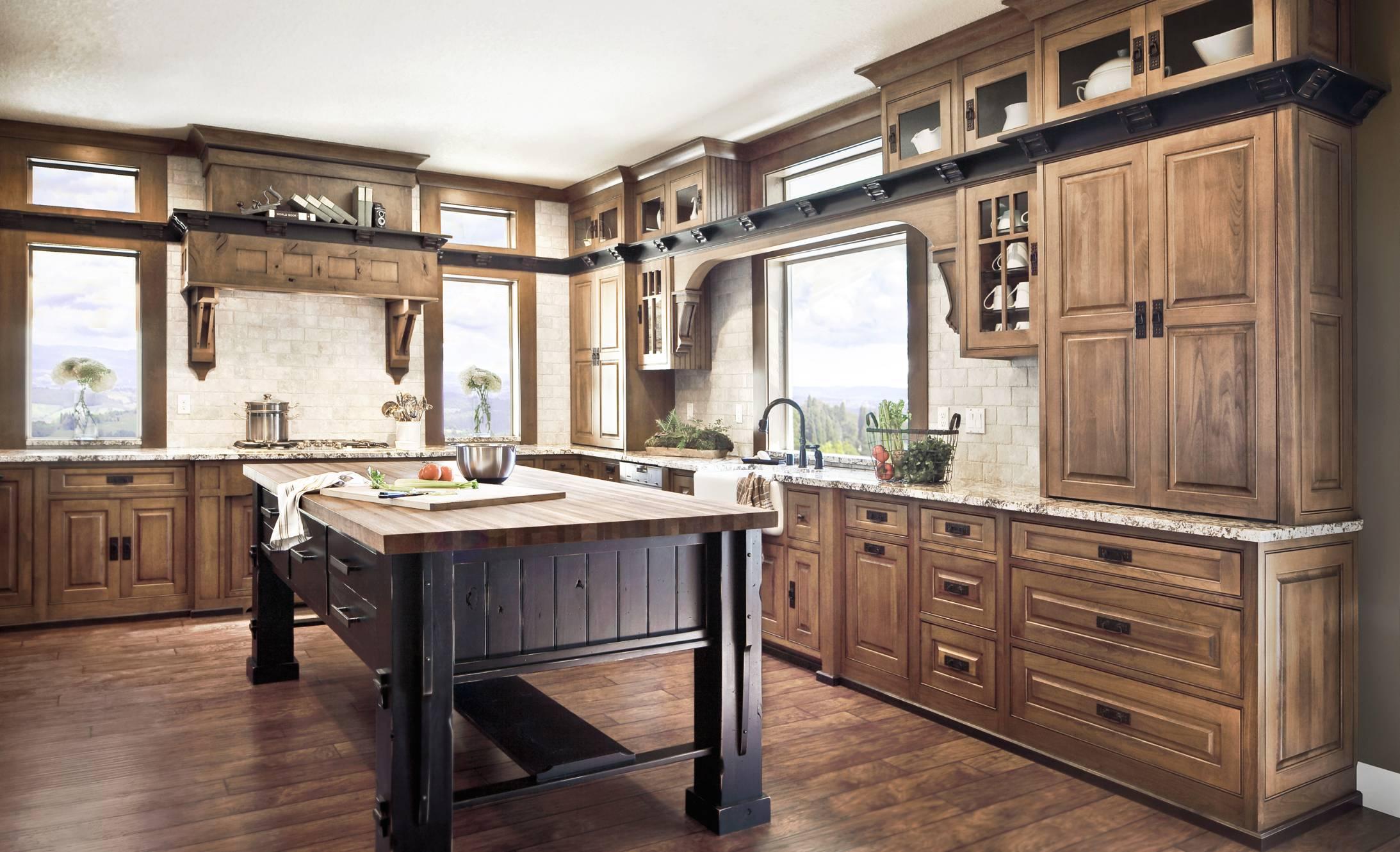 Alder wood cabinets kitchen