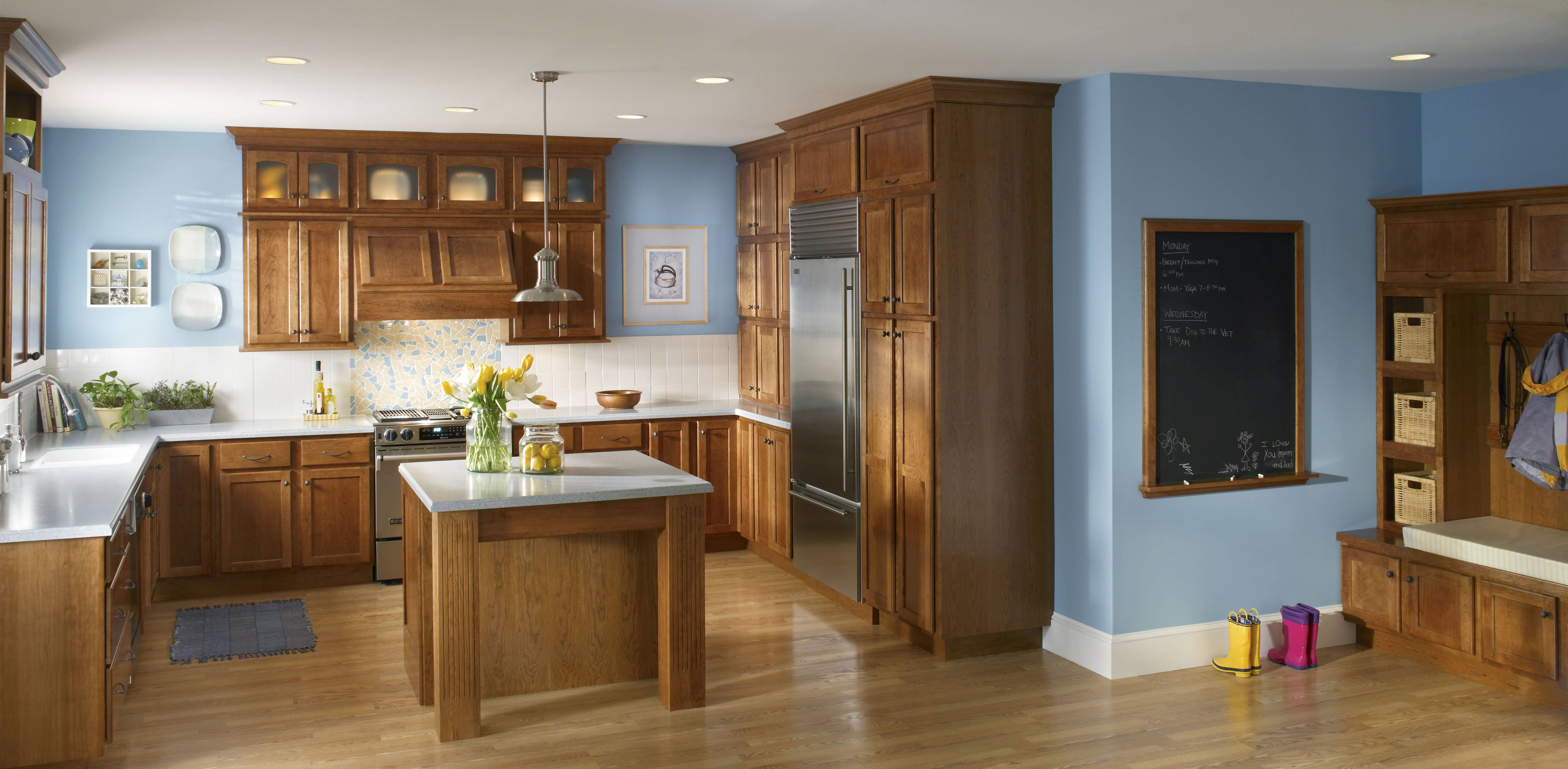 Blue walls with brown kitchen
