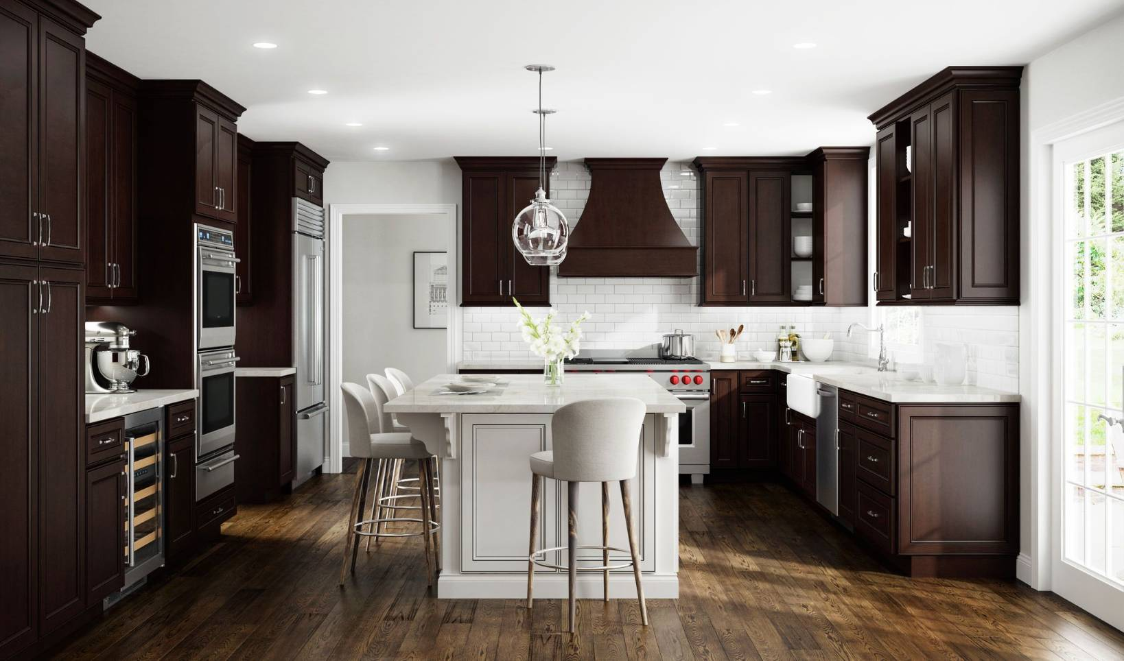 Brown kitchen with dark floor