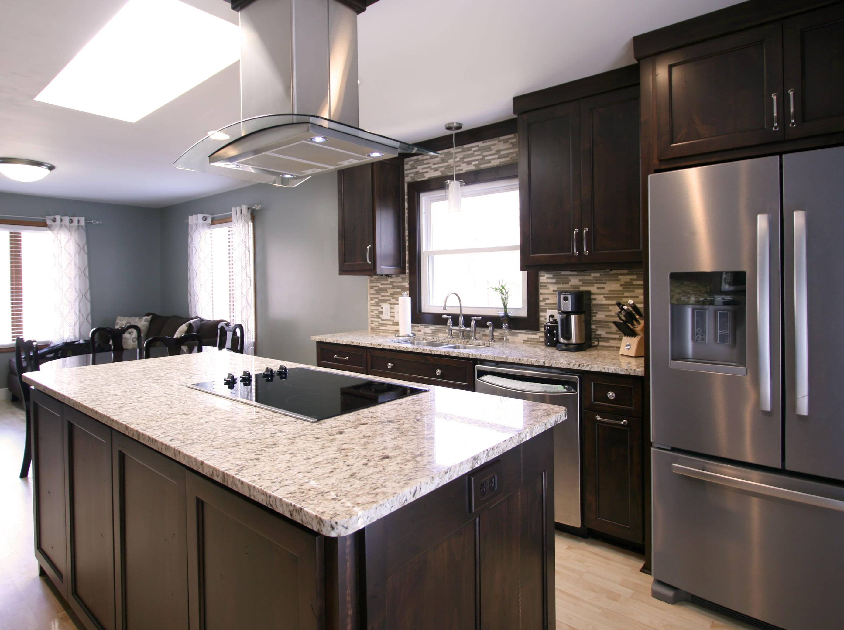 Gray walls with brown kitchen