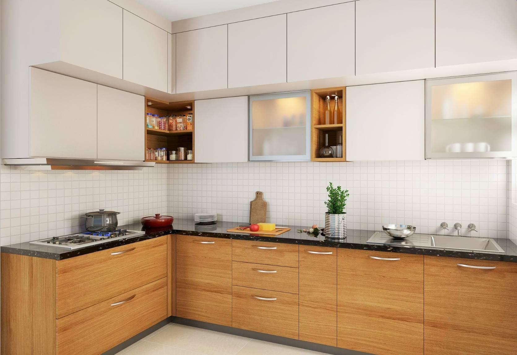 Kitchen open corner shelving