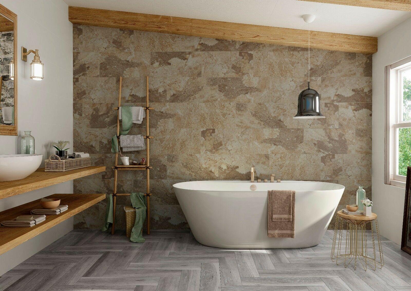 Natural Wood and Ceramic Tile Mix