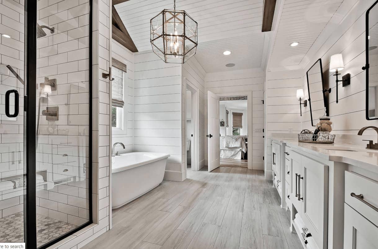 Shiplap on Bathroom Ceiling