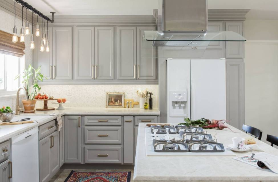 White Appliances and Grey Cabinets