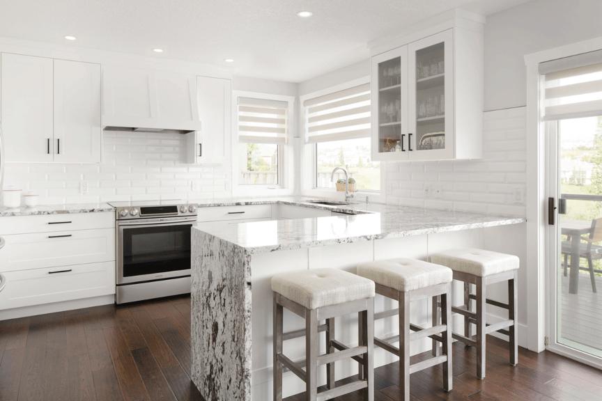 White Shaker Kitchen with Custom Hoodfan