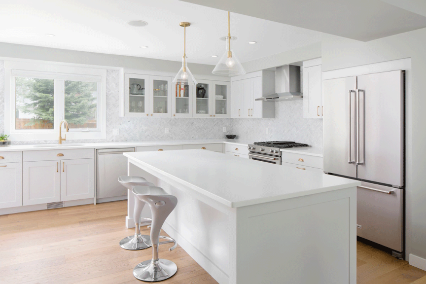 White Shaker Kitchen with Gold Handles