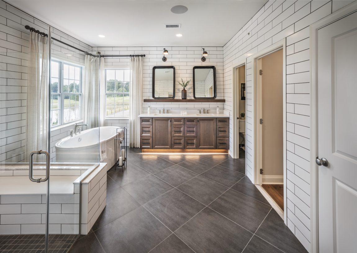 a rustic farmhouse bathroom vanity