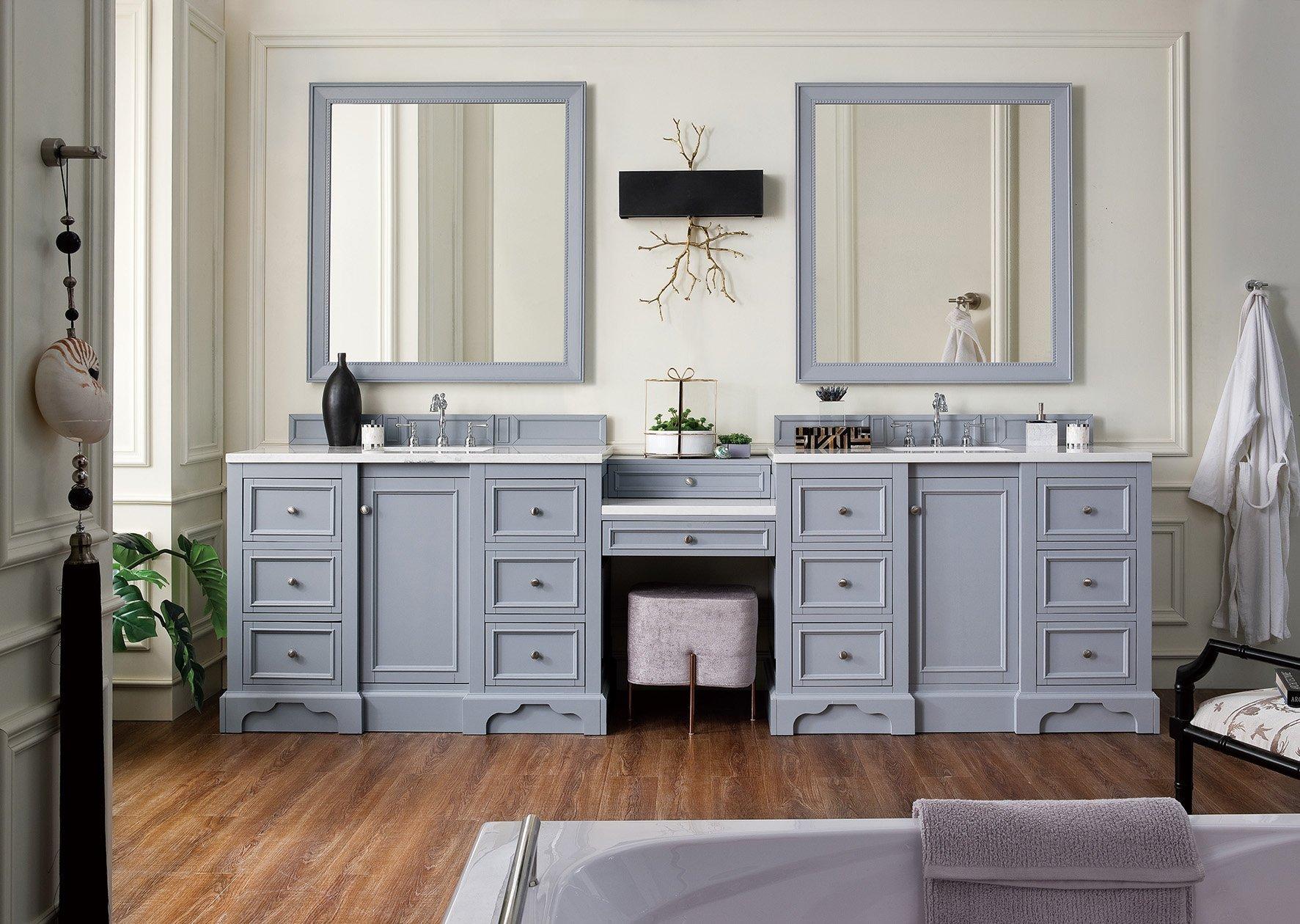 bathroom vanities with sitting area