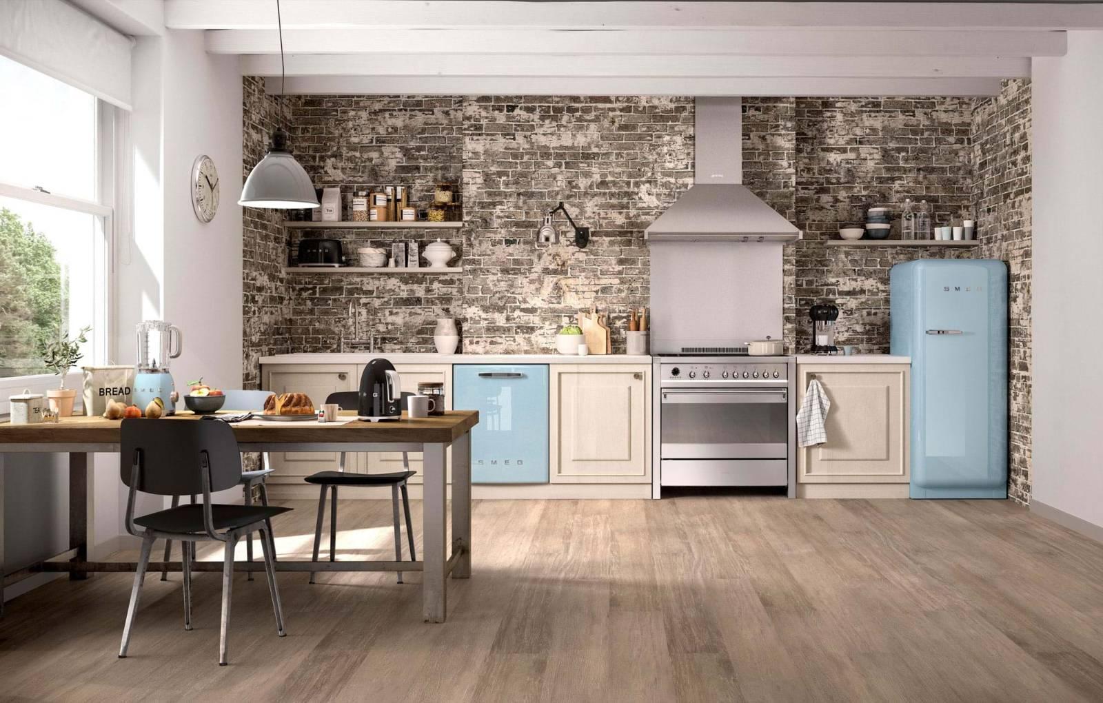 blue kitchen appliances