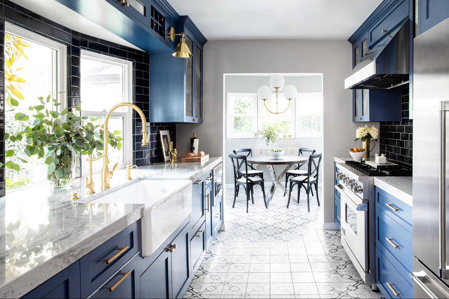 blue stained cabinets