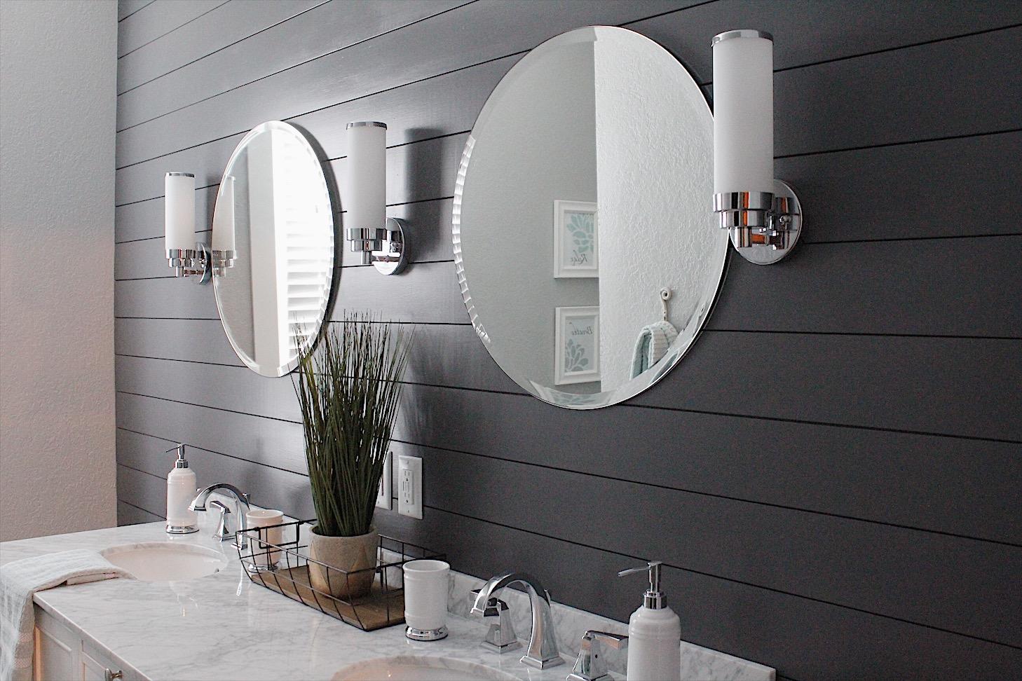 small bathroom with shiplap